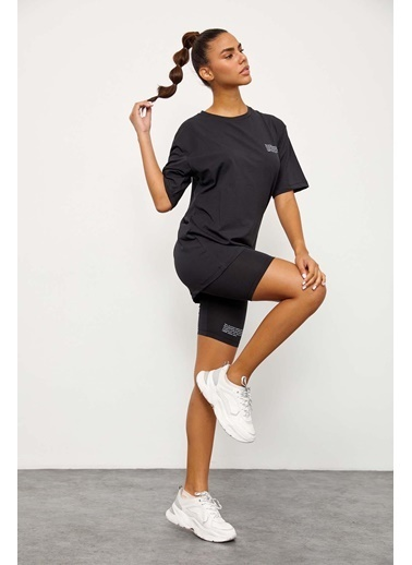 Setre Siyah T-Shirt Bisikletçi Tayt Takım Siyah